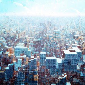 Alien futuristic cityscape.